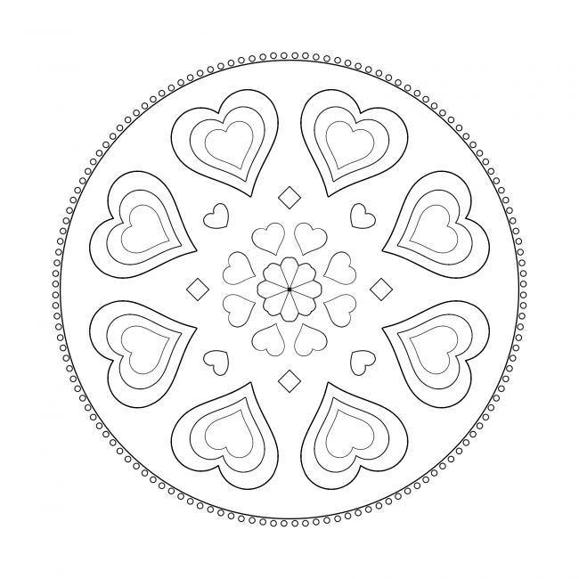 Einfaches Mandala - Herzen