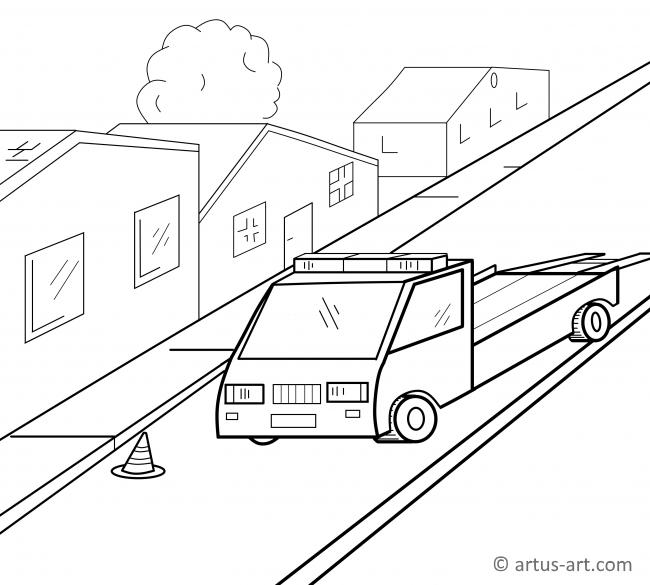 Tow Truck Coloring Page Printable Coloring Page Artus Art