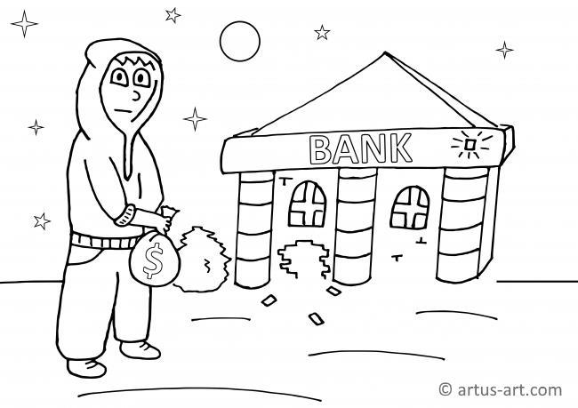 Räuber Ausmalbild (Banküberfall)