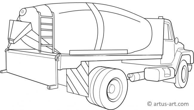 Concrete Mixer Truck Coloring Page