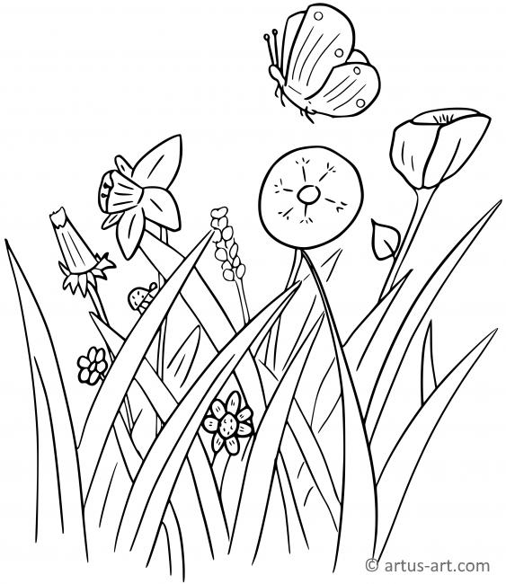 Wildflower Meadow Coloring Page