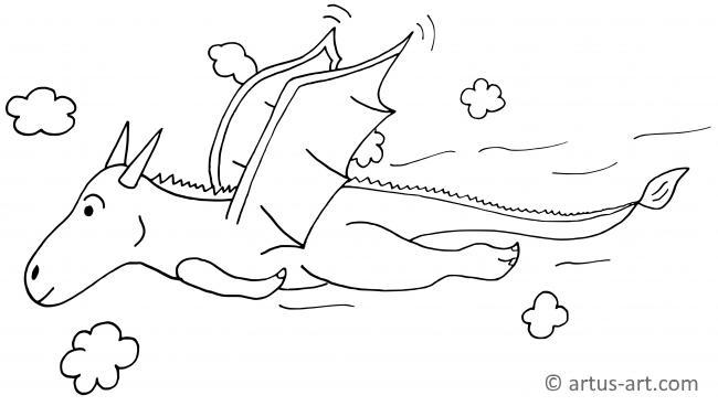 Drache Ausmalbild Beim Fliegen Gratis Ausdrucken
