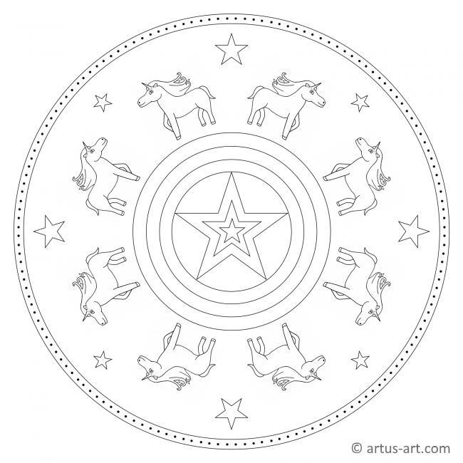 Einhorn Mandala mit Stern
