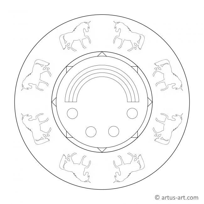 Einhorn Mandala mit Regenbogen