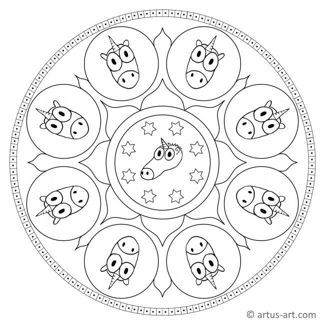 Einhorn-Köpfe Mandala
