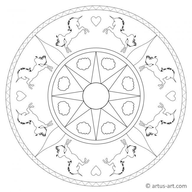 Einhörner im Sonnenschein Mandala