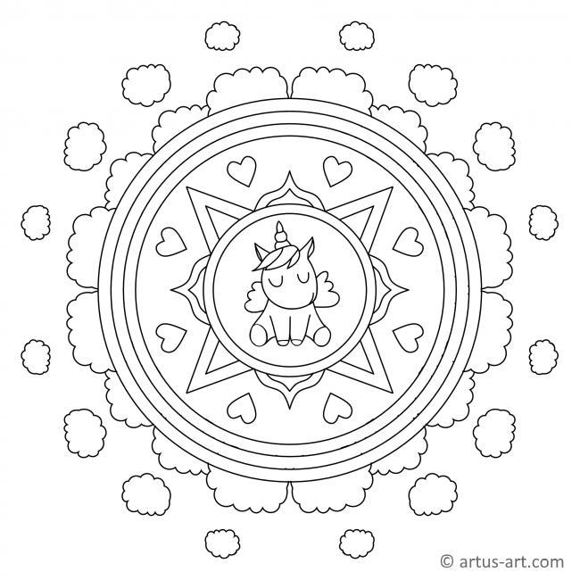 Einhorn Mandala für Kinder