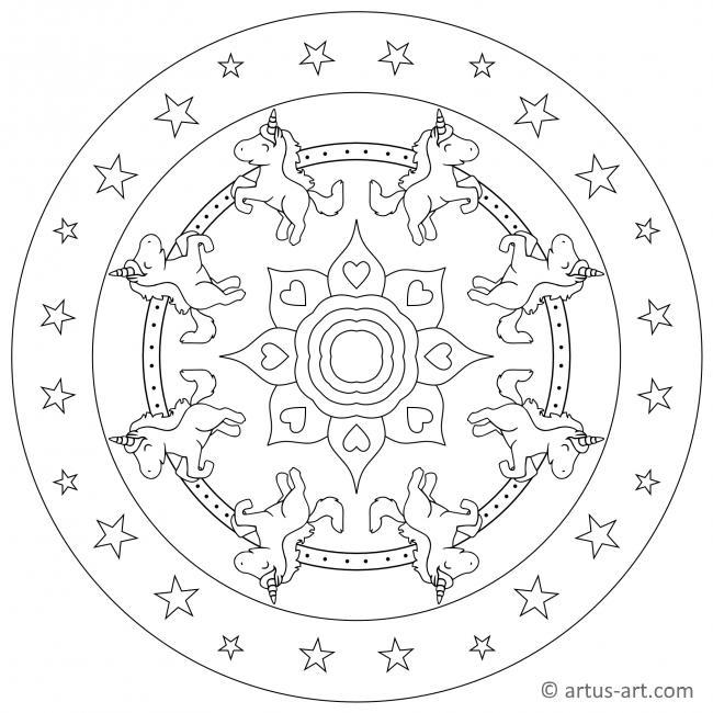 Einhorn Mandala zum Drucken