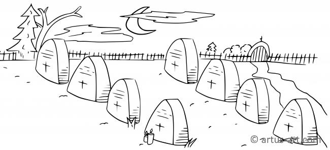 Graveyard Coloring Page