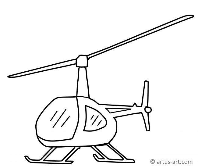 Simple Helicopter Coloring Page
