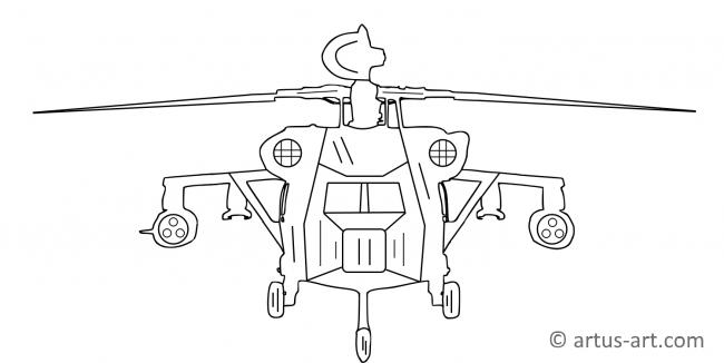 Combat Helicopter Coloring Page