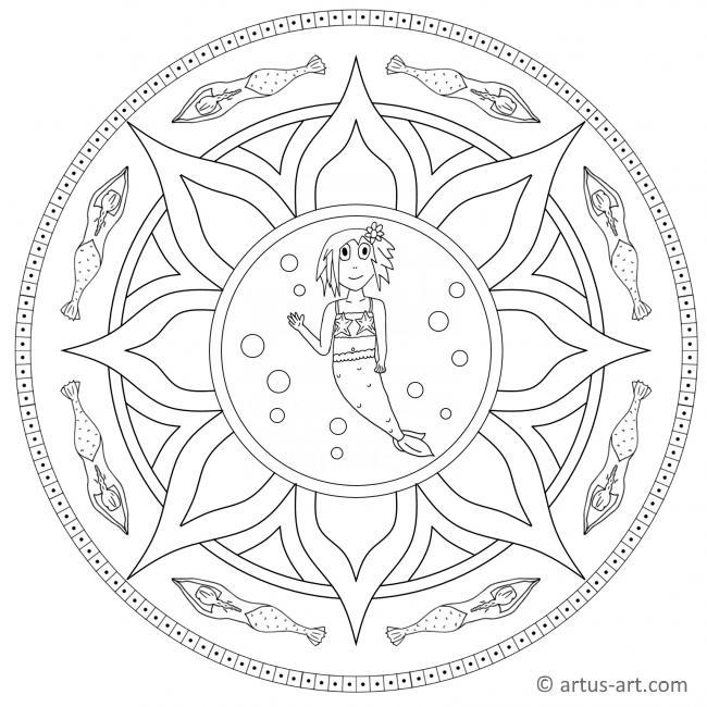 Hübsche Meerjungfrau Mandala