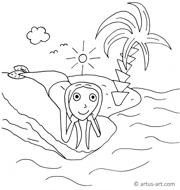 Wasserjungfrau Ausmalbild