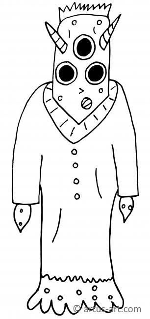 Monster With 3 Eyes Coloring Page