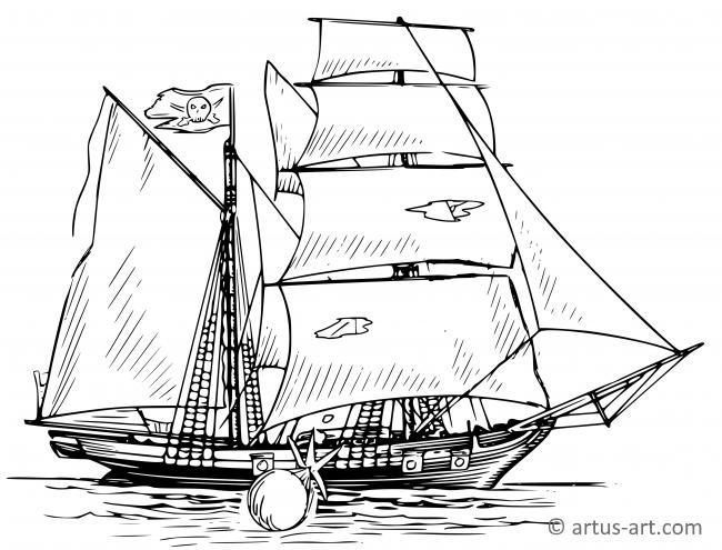 Piratenschiff Ausmalbild