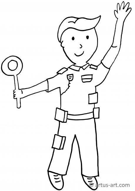 Polizist mit Kelle Ausmalbild