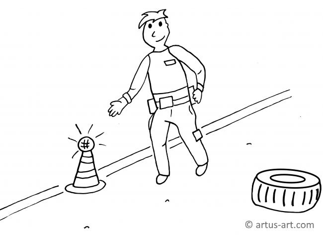 Car Crash/ Accident Coloring Page
