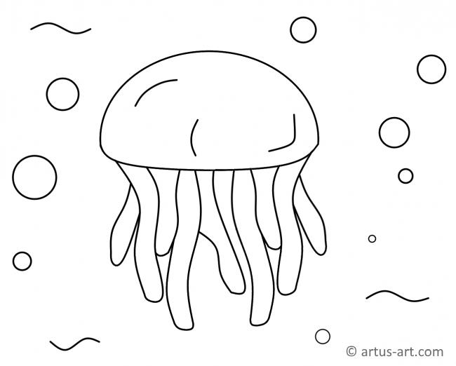 Jellyfish Coloring Page » Printable Coloring Page » Artus Art