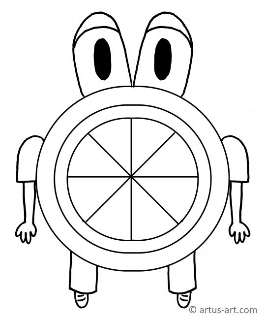 Round Monster Coloring Page