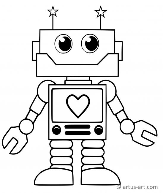 Sweet Robot Coloring Page
