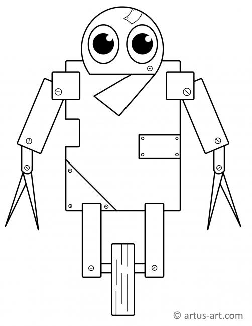 Evil Robot Sweet Robot Coloring Page