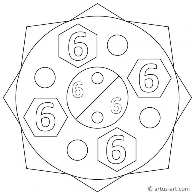 Sechs Zahlenmandala