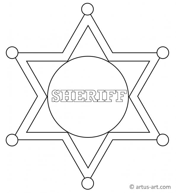 Sheriff Star Badge Coloring Page