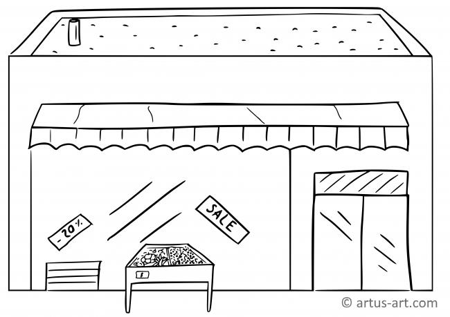 Supermarket Coloring Page