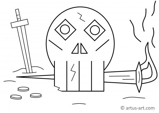 Totenschädel Ausmalbild Gratis Ausdrucken Ausmalen Artus Art