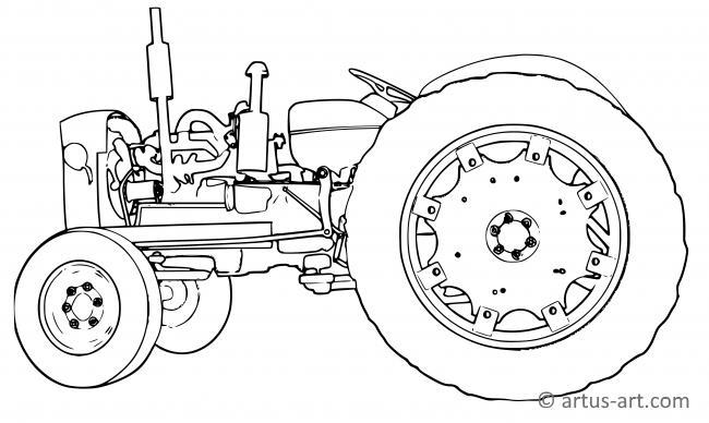 oldtimer traktor ausmalbild » gratis ausdrucken & ausmalen