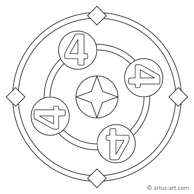 Zahl Vier als Mandala