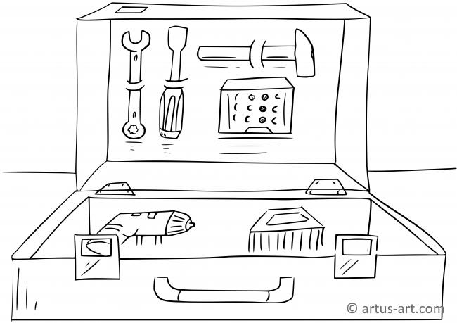 Werkzeugkoffer Ausmalbild