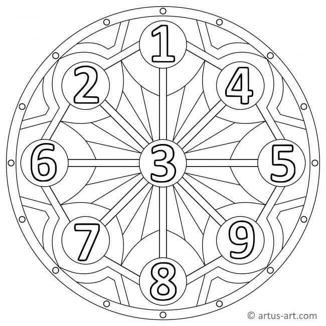 Zahlen eins bis neun Mandala