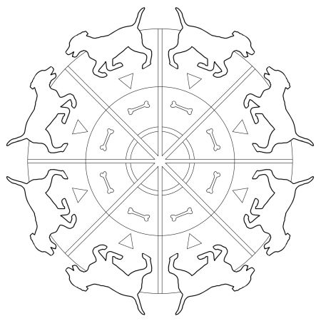 Running Dog With Bones Mandala