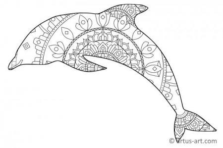 ausmalbild delfin mandala