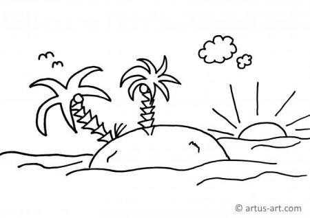 Island Coloring Page