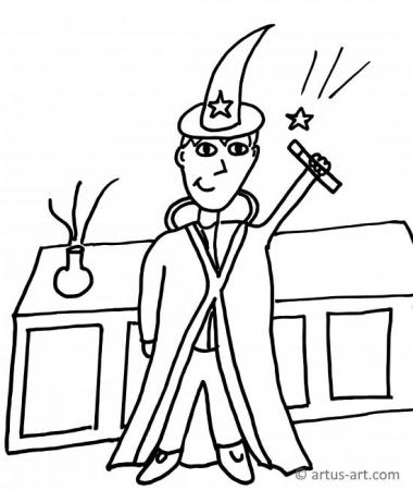 Magician Coloring Page