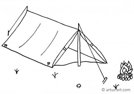 Tent Coloring Page