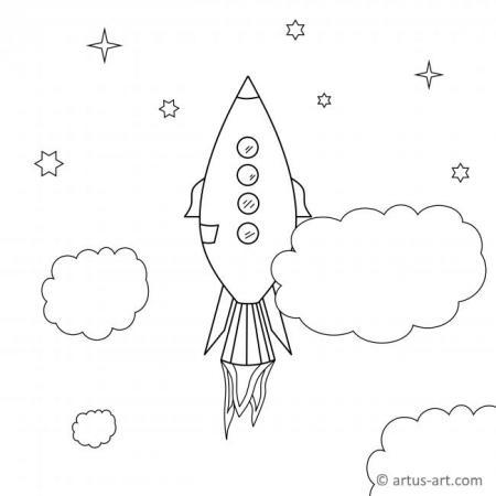 Ausmalbild mit Raumschiff