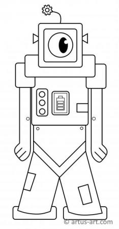 Cool Robot Sweet Robot Coloring Page