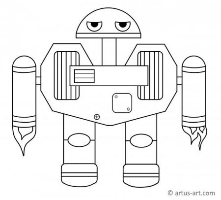 Jetpack Robot Coloring Page