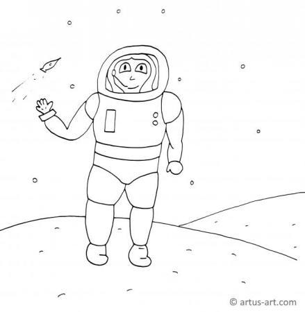 Astronautin Ausmalbild