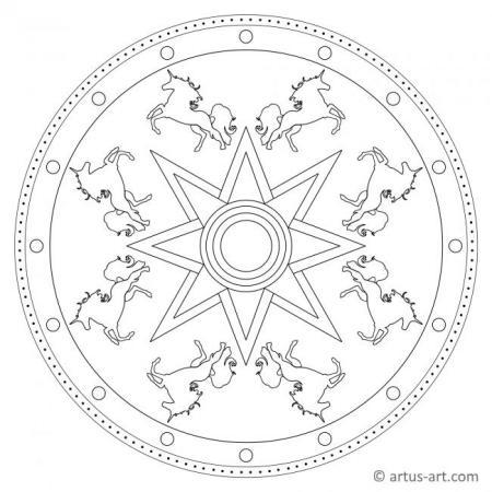 Einhorn Mandala zum Ausdrucken