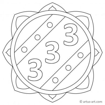 Zahl Drei als Mandala