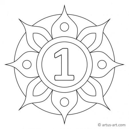 Zahl Eins als Mandala