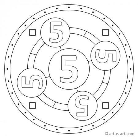 Zahl Fünf als Mandala