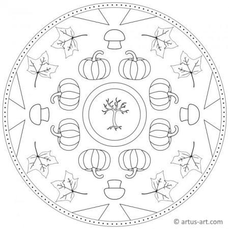 Herbst Mandala mit Kürbis