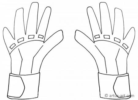 Goal Keeper Gloves Coloring Page