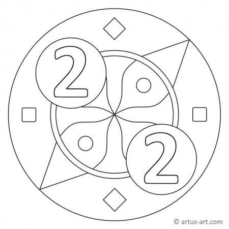 Zahl Zwei als Mandala