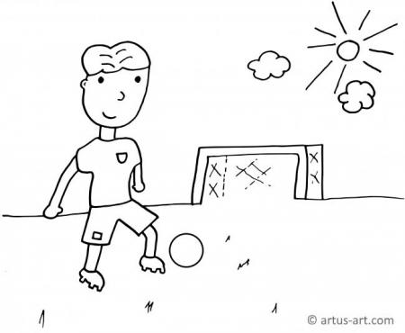 Kid With Soccer Ball Coloring Page